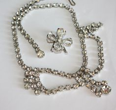 Vintage Necklace Clear Rhinestone With Pin 1950s by patwatty, $13.00