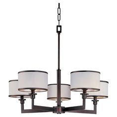 5-light metal chandelier in oil rubbed bronze with white drum shades.   Product: ChandelierConstruction Material: