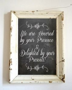 Chalkboard Wedding Sign - Guest Book / PhotoBooth / Gift Table  - 8 x 10 Print - via Etsy.