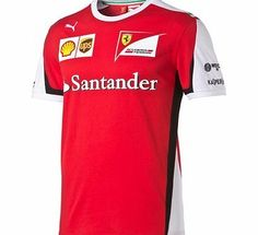 Puma Scuderia Ferrari 2015 Team T-Shirt Red 761669-01 Scuderia Ferrari 2015 Team T-Shirt from PUMA inRed Ferrari team logo and sponsor logos embroideries and pigment prints PUMACat logo embroidery Italian flag design element printed on sleeve Contrast  http://www.comparestoreprices.co.uk/t-shirts/puma-scuderia-ferrari-2015-team-t-shirt-red-761669-01.asp