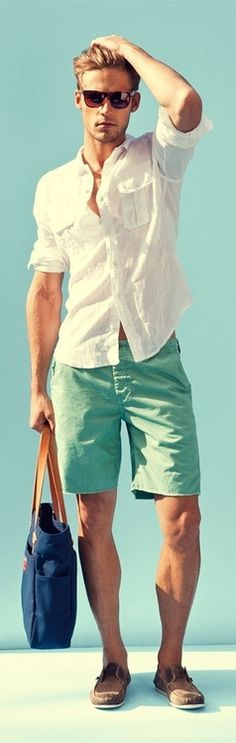 Color blocking is all the hype currently. Make a statement with colored shorts (above the knee, please) and a bold accessory, like a beach bag. Boat shoes required.