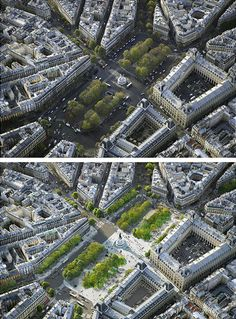 Monde & Medias Pavilion and Place de la République, Paris by TVK. Before and after photographs.