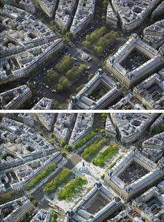 Monde & Medias Pavilion and Place de la République, Paris by TVK. Before and after photographs.