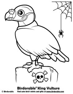 halloween coloring page with birdorable king vulture