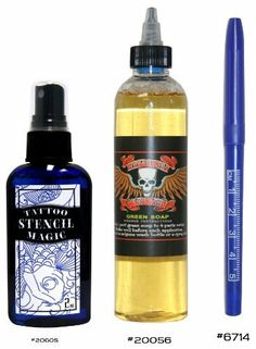 Tattoo Supplies 2oz Stencil Magic Stay Spray and 4oz Green Soap Plus Free Skin Marker! by Superior Tattoo Equipment. Save 12 Off!. $10.99. Here's a little bit of everything you need to keep your stencils bright and longer lasting. You get a 2oz bottle of Tattoo Stencil Magic, a 4oz Bottle of Tattoo Green Soap, and a FREE purple surgical skin marker! Professionals use Tattoo Stencil Magic because they've found that stencil transfers stay brighter, sharper and last longer than with...