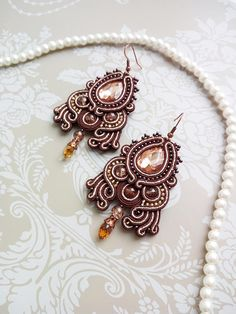 Chandelier earrings Brown earrings Soutache earrings Statement earrings Big beaded earrings Luxury festive earrings Unique soutache jewelry These shining earrings will make your image unique and elegant. Despite the size, these earrings are lightweight, comfortable to wear. These