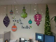 """Home Interior Decoration 45 DIY Cubicle Decor Ideas for Better Working Space # # wise man once said, """"There is no place more comfortable than at home"""". Christmas Classroom Door, Office Christmas Party, Christmas Door, Simple Christmas, Christmas Crafts, Christmas Ornaments, Christmas Decoration For Office, Homemade Christmas, Merry Christmas"""