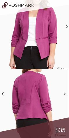 NWT torrid size 2 ruched sleeve blazer NWT torrid size 2 ruched sleeve blazer . This blazer is ready for a working girl with sculpted seams, a drape front, and ruched sleeves; however, the orchid purple knit is so comfy you'll feel like you're still chilling at home. A silky lining is so chic. torrid Jackets & Coats Blazers