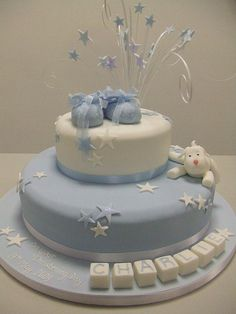 Boys star christening cake