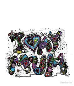 I Love My Mum Multicoloured Aussie Tangle on White Background