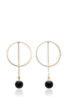 Circle hoop with onyx earrings by MATEO for Preorder on Moda Operandi