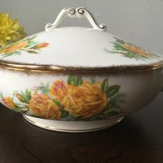 Our latest listing a first edition collectible Royal Albert Tea Rose round covered vegetable dish.