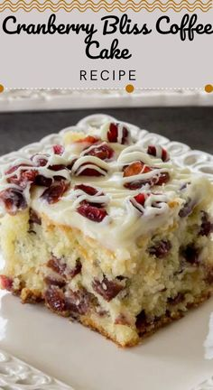 Cranberry Bliss Coffee Cake Recipe (VIDEO) – Let the Baking Begin! This Cranberry Bliss Coffee Cake Recipe a delicious coffee cake loaded with cranberries, white chocolate, and a cream cheese frosting. A delicious, soft coffee cake with cranberries. Easy Cake Recipes, Sweet Recipes, Baking Recipes, Cookie Recipes, Delicious Cake Recipes, Cranberry Cake, Cranberry Recipes, Köstliche Desserts, Dessert Recipes