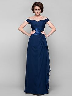 Sheath/Column Plus Sizes Mother of the Bride Dress - Dark Navy Floor-length Sleeveless Chiffon | LightInTheBox