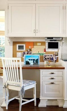Shine Your Light: Kitchen Office Area ~ Awesome ideas for a kitten office/desk area!  Now I just need the space...