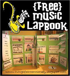 Free Music Lapbook #homeschool  http://www.livinglifeintentionally.blogspot.com/2012/05/kids-learn-music-free-lapbook.html