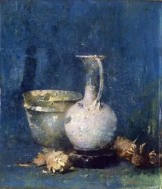 Emil Carlsen Untitled (Still Life of Ewer, Bowl, and Flowers), c.1913