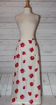 Casual Corner Sz 10 Silk Lined Full Length Floral Slit Skirt Zippered Back MOP  #CasualCorner #FullSkirt