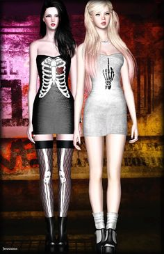 Skeleton dress by Jenni Sims • Sims 3 Downloads CC Caboodle