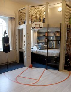 Creative basketball hoop bed for the aspiring Steph Curry's and Lebron James'. | Case Design/Remodeling, Inc.