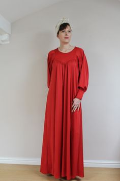 1970s maxi dress red dress 70s dress maternity by BebopBoutiqueuk