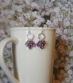 Amethyst Hoop Earrings with Silver Hoop and by SmockandStone, $15.00