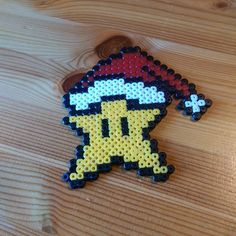 Mario star Christmas ornament hama perler beads by jekrus