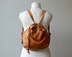 PILLOW PACK  'three in one' with outer pockets -  mid size - leather convertible backpack - choose your leather and interior. $258.00, via Etsy.