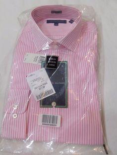 2pk Tommy Hilfiger Men 100% Cotton Dress Shirt SlimFit White/Pink  Size 16 34-35 #TommyHilfiger