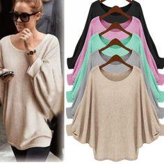 Women Baggy Batwing Long Sleeve Oversized Sweater Ladies Plain Jumper Top Blouse