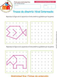 Ejercicio 03 nivel intermedio: Actividadesescolares de trazos de simetría paradesarrollar la memoria y la atencióncon los niños. Actividades a realizar: