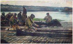 """""""Travail aux filets sur le quai"""" - Achille Granchi-Taylor, 1857-1921"""