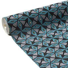 31792 papier peint vinyle african star coloris bleu turquoise