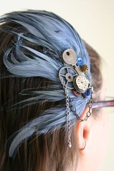 Steampunk Fascinator  Blue feather Head Piece  made by AngleAh, $32.00