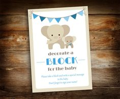 Decorate a Block Sign - Sign a Block - Elephant Baby Shower - Boy Baby Shower