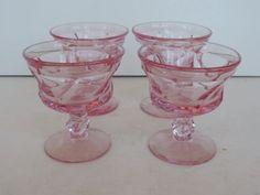 $29.98 - 4-pink-Fostoria-Elegant-glass-JAMESTOWN-sherbert-Champagne-Stem-2719-Vintage
