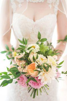 colourful dahlia + ranunculus bouquet