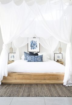 Modern Coastal Bedroom Ideas - Home Design Farmhouse Master Bedroom, White Bedroom, Modern Bedroom, Master Bedrooms, White Canopy, Amazing Bedrooms, Small Bedrooms, White Bedding, Contemporary Bedroom