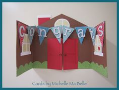 Handmade Card Congrats on a New Home 12x12 paper cut to open in middle