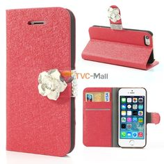 Elegant Camellia Rhinestone Magnetic Silk Textured Leather Card Holder Case for iPhone 5 5s - Red