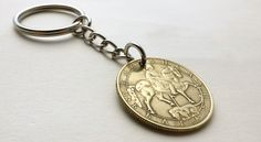 Bulgarian, Coin keychain, Men's gifts, Coin charm, Horseback, Madara, Repurposed…