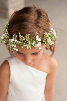 Modern wedding flower girl idea - one-shoulder white dress + delicate white and green floral crown {Karen Feder}