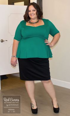"""Real Curve Cutie Kenna (5'3"""") is corner office ready in our plus size Posh Ponte Peplum Top.  This ensemble is classic and sophisticated; definitely worthy of a promotion.  ;)  www.kiyonna.com  #KiyonnaPlusYou  #Plussize  #MadeintheUSA  #Kiyonna  #RealCurves  #OOTD"""