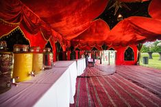 Gorgeous red themed interior alongside the shining sun makes it all the better! Bright, vibrant - just want you want for your event. Marquee Hire, Marquee Wedding, Arabian Tent, The Shining, Luxury Wedding, Unique Weddings, Vibrant, Fair Grounds, Bright