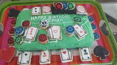 homemade blackjack table cake with cookie poker chips and cards- for my bf's birthday