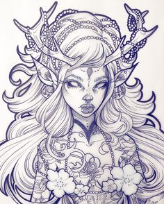Illustrations by graphicartery Female portrait with deer antlers Ink on Vellum