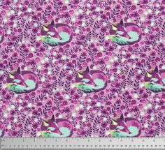Tula Pink Fox Nap in Raspberry for Free Spirit Chipper Collection Cotton Woodland Fabric - Purple Blue Fox Fabric - Modern Fabric by Owlanddrum on Etsy Tula Pink Fabric, Fox Fabric, Woodland Fabric, Purple Quilts, Pink Fox, Free Spirit Fabrics, Textiles, Modern Fabric, Couture