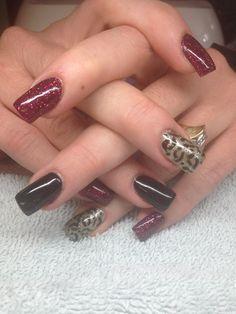 Fall nails with animal print