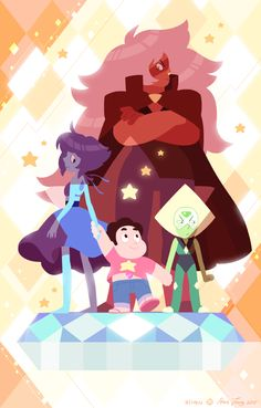 "slimu: ""Steven and the Homeworld Gems It was recently my one-year anniversary working on Steven Universe! The crew got invited to participate in a Cartoon Network Halloween exhibit @gallerynucleus​..."