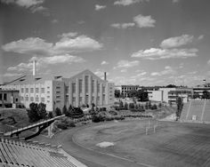 1958 Ahearn Fieldhouse/East Stadium. Copyright K-State Photo Services.